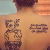 Young Lady Tattooes Former Lagos State Governor, Tinubu's Image And His Date Of Birth On Her Body