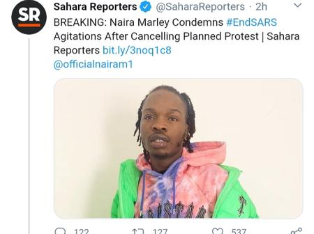 Sahara Reporters: Naira Maley, opt out from protest against SARS and condemned protest.