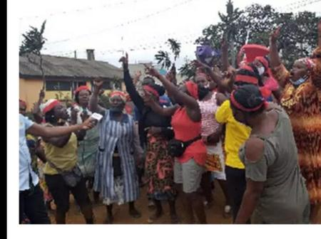 CMB Police wives embark on a serious demonstration.