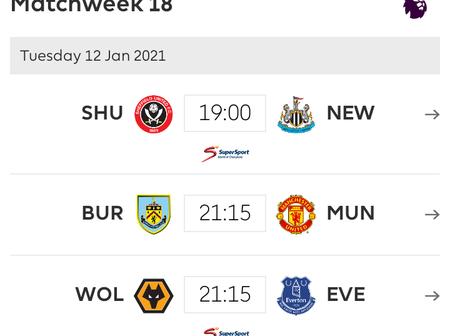 EPL: All premier league mid-week fixtures