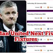 After Man Utd Lost 2-1 Yesterday, See Their Next 5 Fixtures in the Premier League.