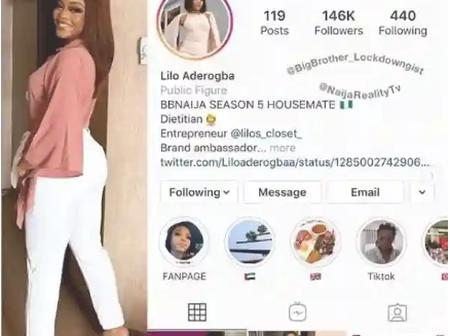 BBNaija: Lilo Becomes The First Evicted BBNaija Housemate To Be Verified On Instagram (Photo)