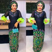 Chiffon, Ankara And Lace Free Gown For Martured Women