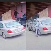 Always Be Watchful, See How A Thief Stole From A Lady's Car Which She Locked Before Leaving (Video)