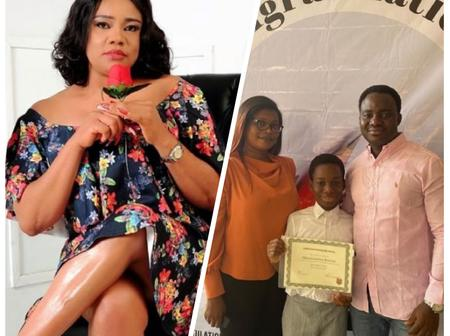 Actress Opeyemi Aiyeola's Son Won A Scholarship After He Came First In A Spelling Bee Competition.
