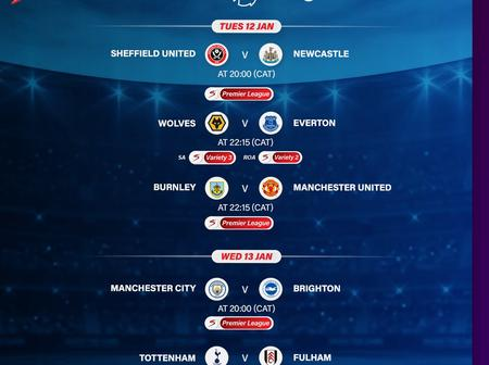 Check out the English Premier League Matches coming up today and Wednesday