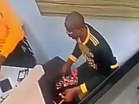 This Man Was Caught By CCTV Camera Stealing An iPhone 11 Pro Max Inside A Phone Shop (video)