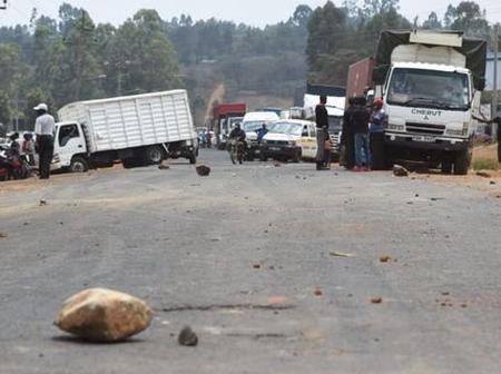 Demonstrators Blocked Matunda-Kitale Road Protesting Release Of Police Charged With Molestation