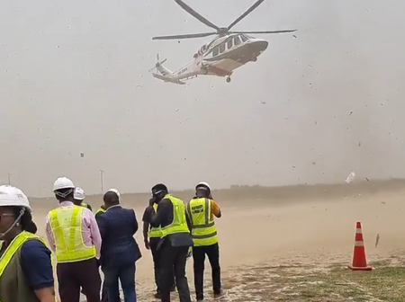 Pastor David Oyedepo Stormed Good Land With A Helicopter (Video)