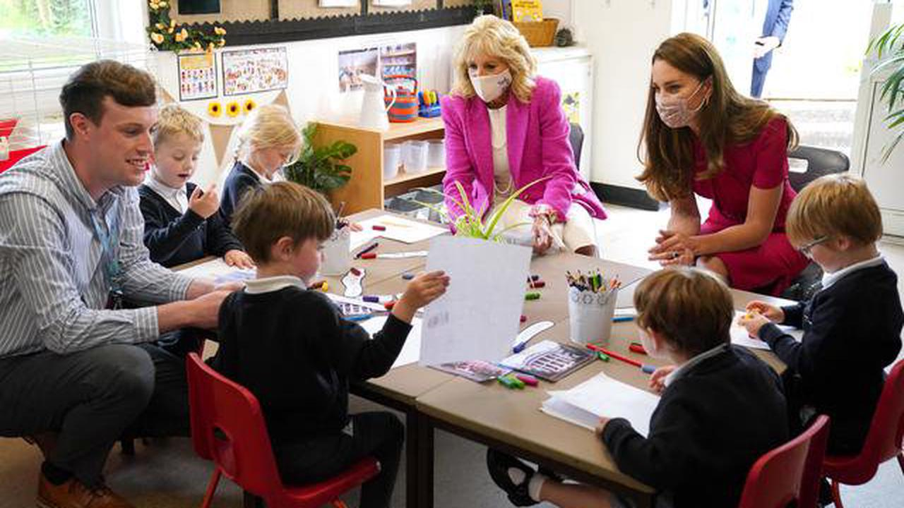 Jill Biden and Kate Middleton meet for the first time to visit a school and feed rabbits