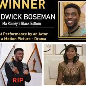 Late Boseman wife in tears as she gives an emotional speech on her husband Golden globes award
