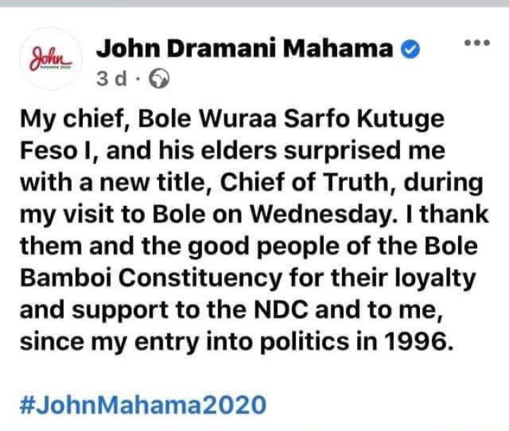 5dc1b3b3fa250636d7daea60f864f2ee?quality=uhq&resize=720 - See some reactions of Ghanaians after Bole Chief exposed his own son, John Mahama
