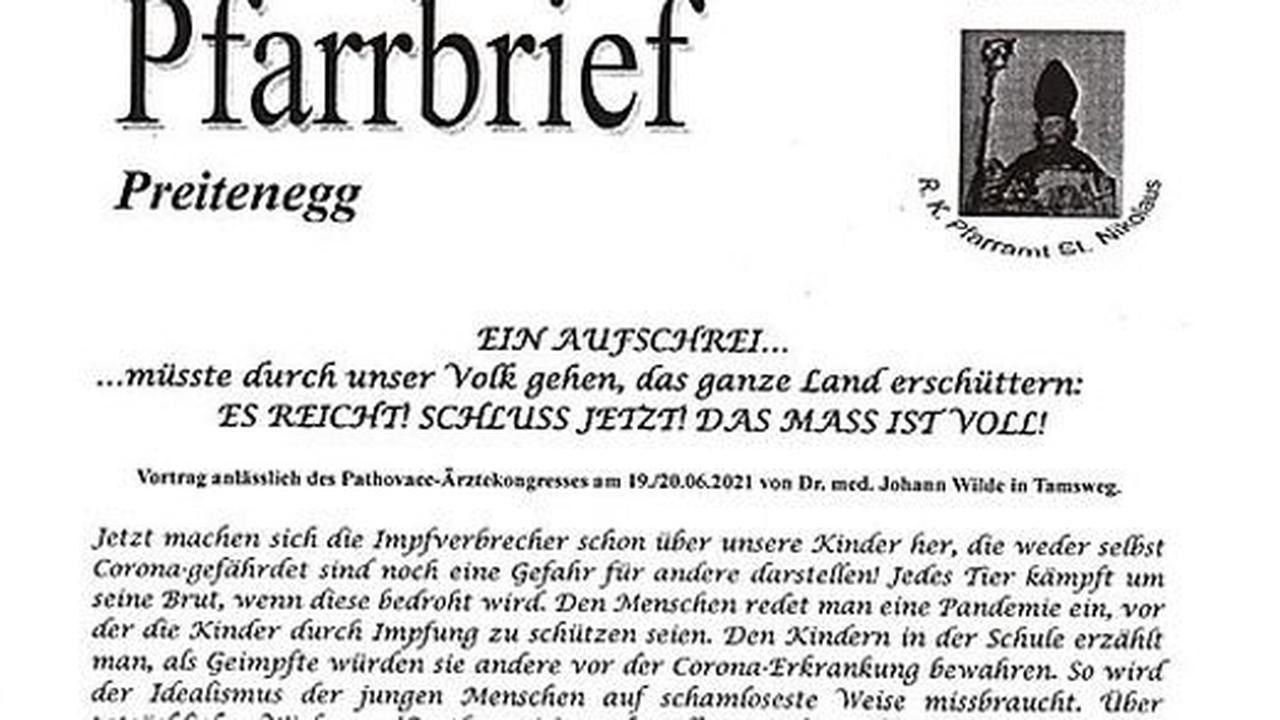"""Corona-Impfungen  """"12.000 Impftote"""": Aufregung um Pfarrbrief in Kärnten"""