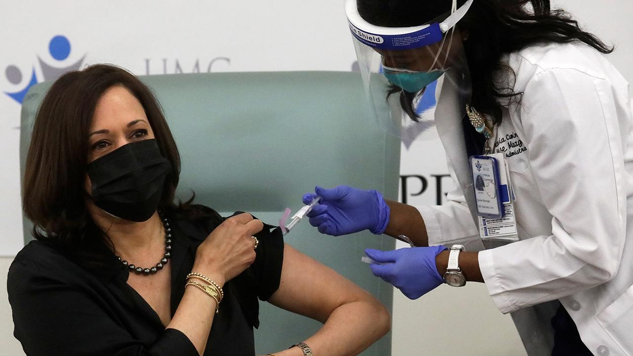 Kamala Harris receives first dose of COVID-19 vaccine