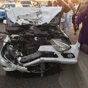 Mercedes Benz car severely damaged in accident involving three vehicles on Lekki-Epe Expressway