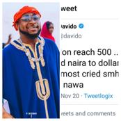 Even The Rich Also Cry, See What Davido Said After Exchanging Dollar to Naira and Realized The Rate