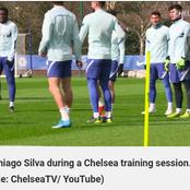 Thiago Silva spotted in training ahead of Everton's clash
