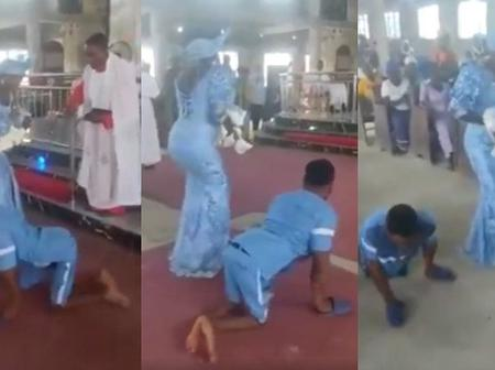 Reactions As Crippled Man Dances To The Alter With His Wife To Dedicate Their Newborn Baby In Church