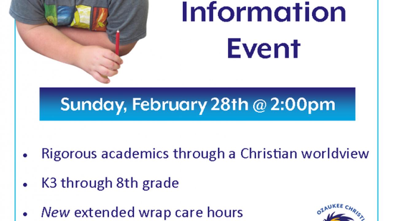 Ozaukee Christian School K3 – 8th grade Enrollment Information event | By Janet Swartz
