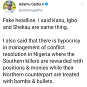Fake Headline: I Never Said Boko Haram, Bandits Are Northern Freedom Fighters- Adamu Garba Speaks Out