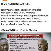 Major Issues Addressed by Joe Biden and Uhuru Kenyatta Through Phone Call