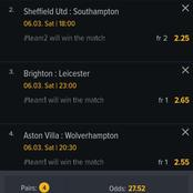 Saturday Matches That Can Get You 22,000 Ksh