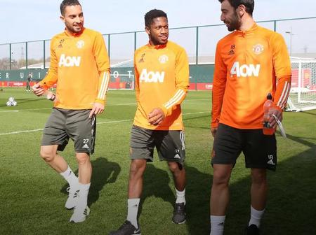 Photos of United players in training ahead of Brighton's encounter.