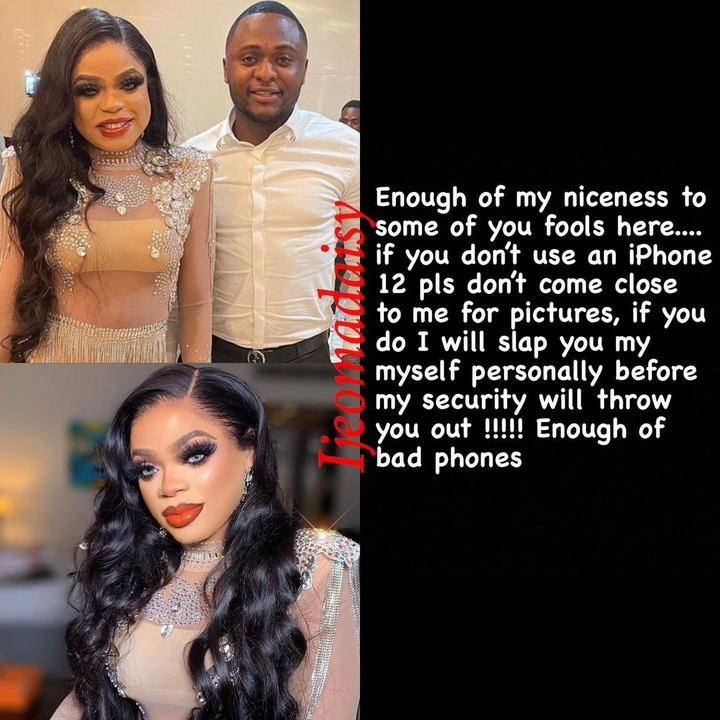 I will slap you if you take pictures of me without iPhone 12 - Bobrisky warns fans