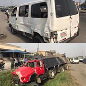 PHOTOS: Passengers escape death as truck carrying gravel hits commercial bus in Lekki
