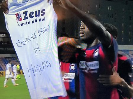 JUST IN: Nigerian player displays #EndSARS after scoring against Juventus. (Video)