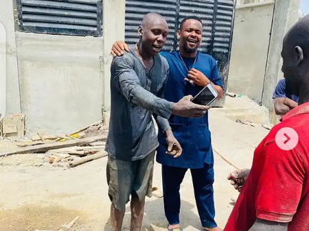 Check out reactions after Zubby Michael was seen mingling with site workers in new photos