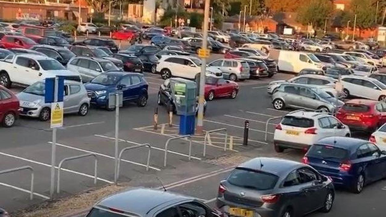 Watch traffic CHAOS at Northampton General Hospital on the first day of THREE-MONTH major roadworks in the area