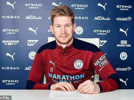 Check Out The Huge Amount Kevin De Bruyne Signed For His New 4-Year Deal With Manchester City.