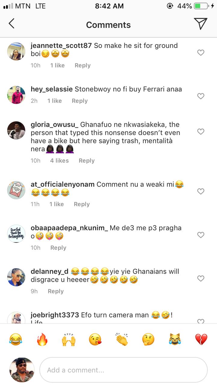 """6173635c7b8d2f9484b66e84a311ac32?quality=uhq&resize=720 - """"Efo Turn Camera Man"""" - Netizens Mock Stonebwoy After He Was Seen Enjoying In Cuppy's New Ferrari"""