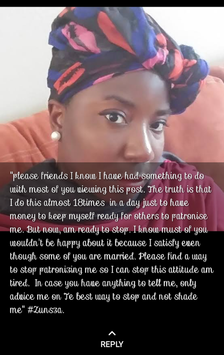 Pls I need help,I have sex 18 times in a day,Young lady makes shocking confession