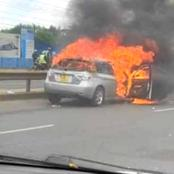 Highway Drama as Vehicle Burst Into Flames Along Thika Super Highway