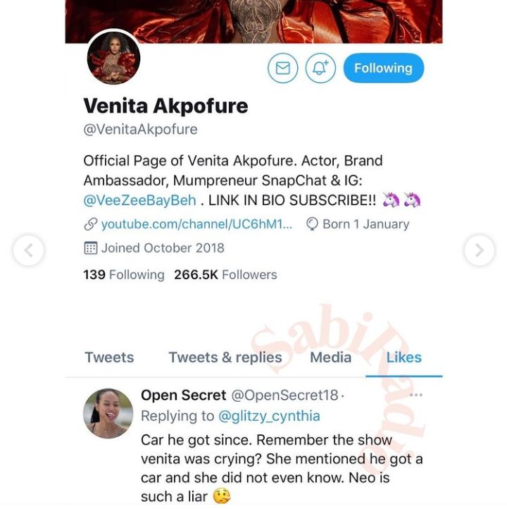 Venita likes a Twitter post, calling Neo a liar for saying his car was gifted by fans