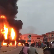 Watch Video: Residents Scamper For Safety As NNPC Filling Station Catches Fire In Akute, Lagos