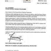 Ministry of Gender Sends Message to Caterers of Ghana School Feeding Programme
