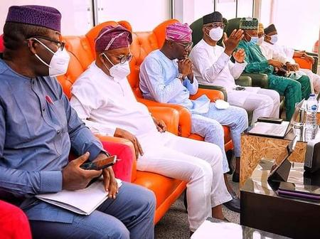 PHOTOS: Governors, Senators Observe Tinubu's 69th Birthday Event At Airport Due To Bad Weather