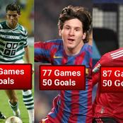 Cavani Have 50 Goals In 87 UEFA Matches, See How Many Games It Took Ronaldo And Messi To Score 50