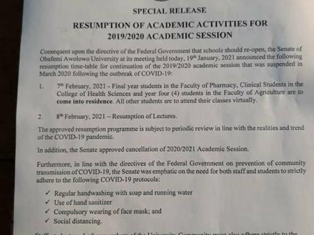 Obafemi Awolowo University releases new resumption guideline