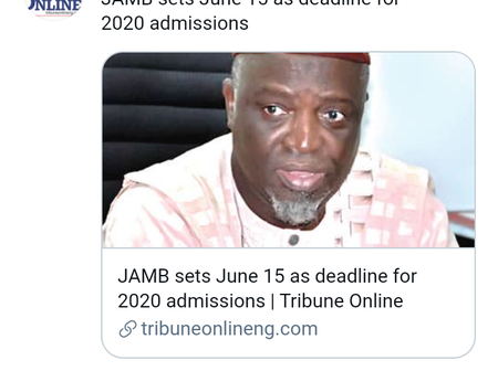 JAMB Officially Release Deadline Date For 2020 Admission, Check It Out