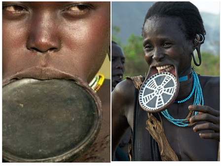 Check Out a Tribe In Africa Where Women Add Beauty To Themselves By Putting Plates On Their Lips