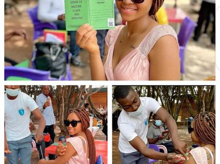 Covid-19 vaccination: Fans lambaste Regina Daniels for not having facemask on, fault man for not wearing gloves