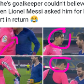 See This Goalkeeper's Reaction When Messi Asked For His Shirt After Scoring Two Goals For Barcelona