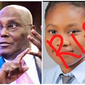 Check out What Atiku Abubakar Said About The Death of 17-years-Old Girl Who Bagged 7 A's in WASSCE