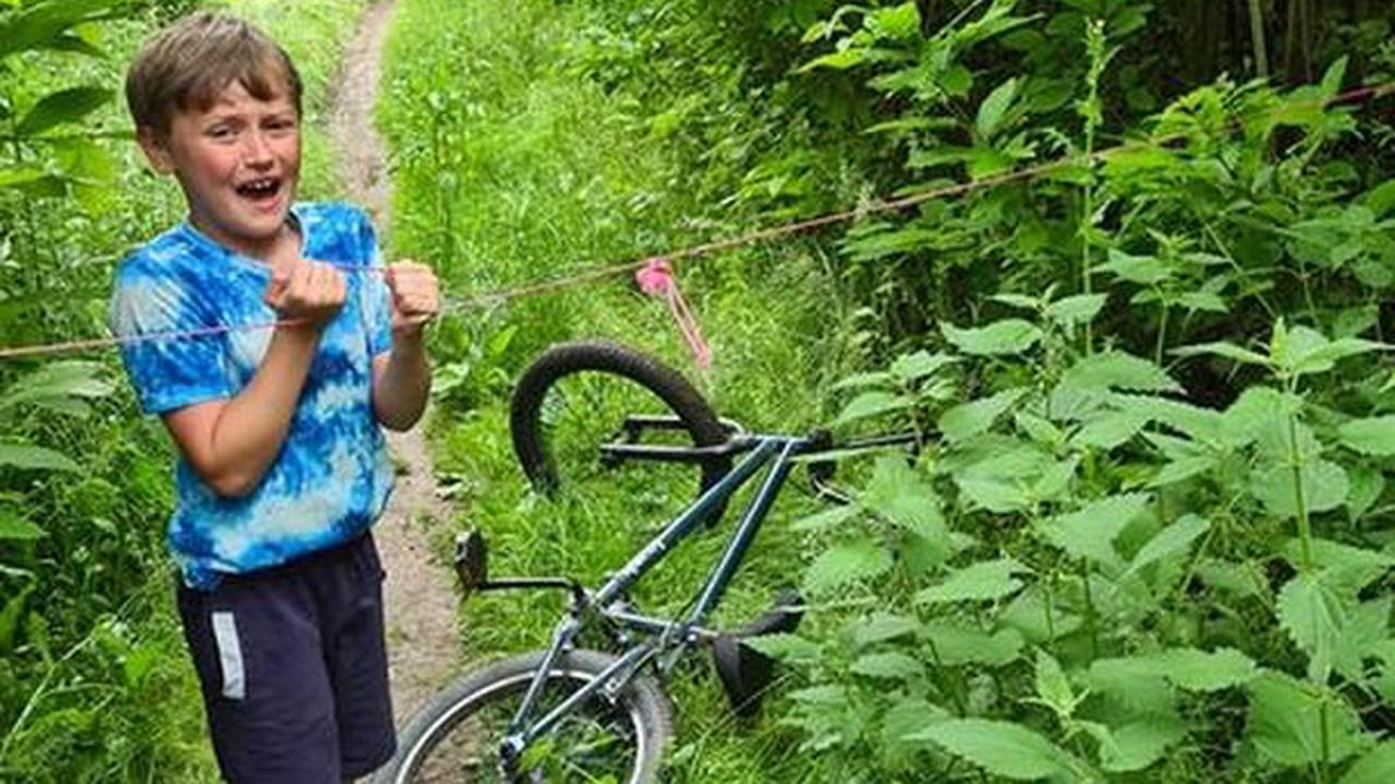 Dad's fury after son, 9, cycles into 'nasty' rope trap in East Malling woods