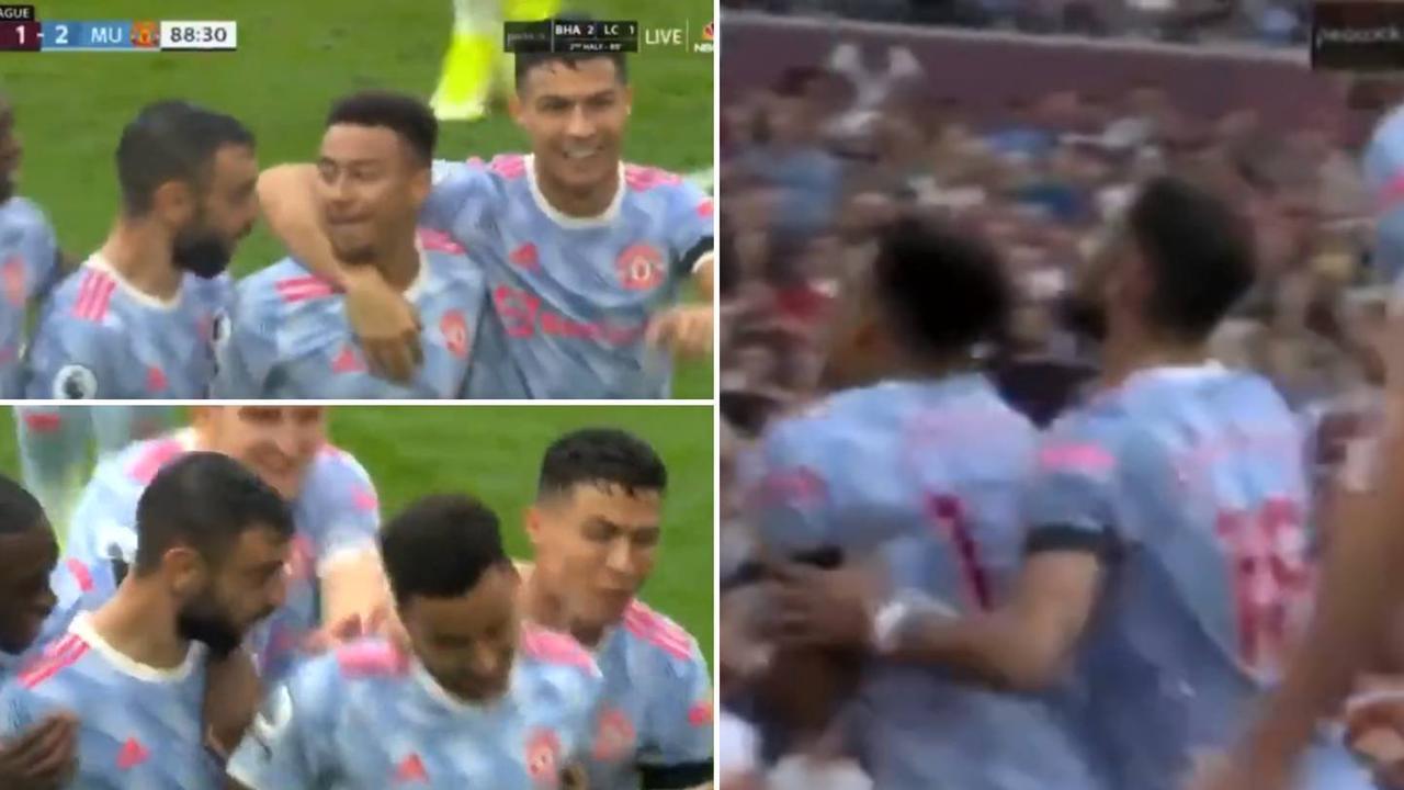 Cristiano Ronaldo And Bruno Fernandes Tried To Push Jesse Lingard Into Celebrating Winner
