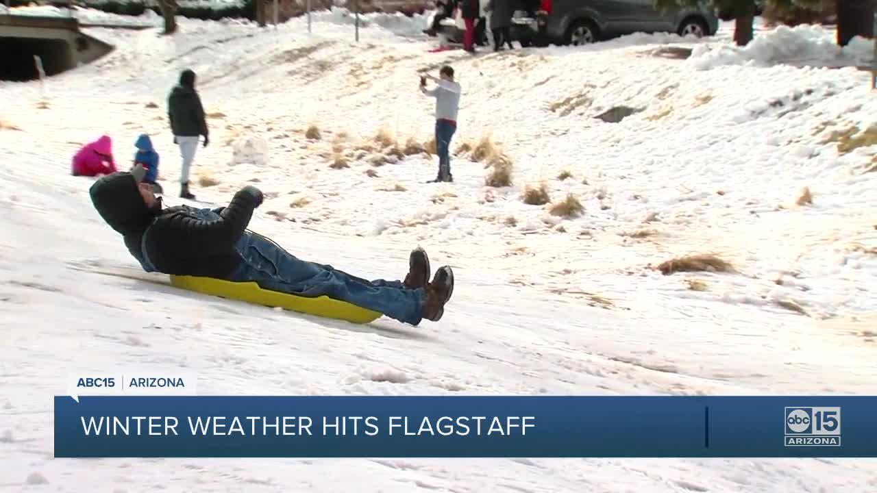 Winter weather brings visitors to Flagstaff